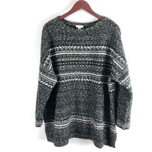 Roomy, Cozy J.Jill Black/White/Gray Sweater Size L